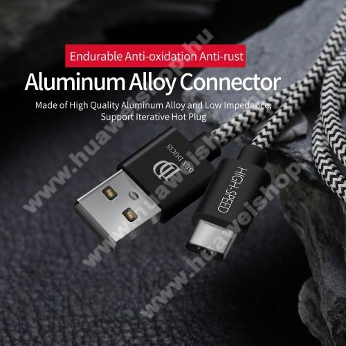 Huawei P20 (2018)DUX DUCIS adatátviteli kábel / USB töltő - USB 3.1 Type C, 25cm, 2,1A töltőáram átvitelre képes! - FEKETE