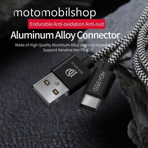 MOTOROLA Moto Z2 Play DUX DUCIS adatátviteli kábel / USB töltő - USB 3.1 Type C, 25cm, 2,1A töltőáram átvitelre képes! - FEKETE