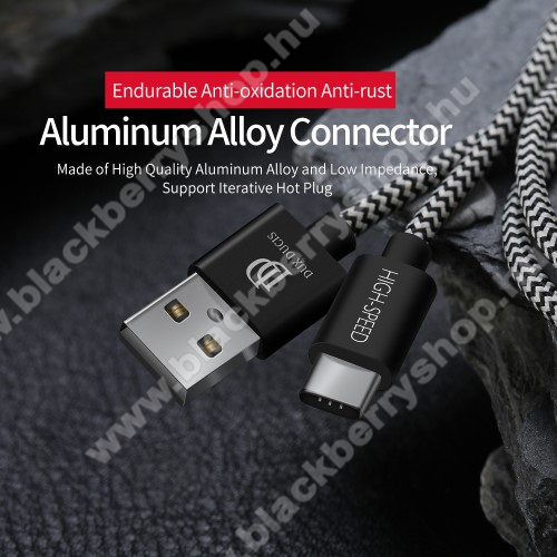 BLACKBERRY KeyoneDUX DUCIS adatátviteli kábel / USB töltő - USB 3.1 Type C, 25cm, 2,1A töltőáram átvitelre képes! - FEKETE