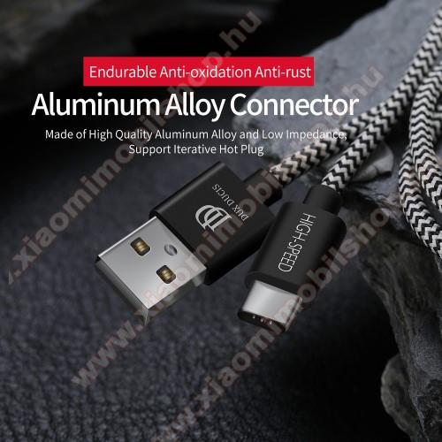 Xiaomi Redmi Note 7DUX DUCIS adatátviteli kábel / USB töltő - USB 3.1 Type C, 3m, 2,1A töltőáram átvitelre képes! - FEKETE