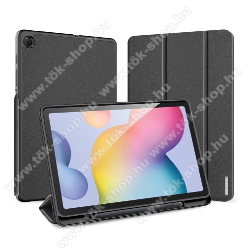 DUX DUCIS Domo Series notesz / mappa tok - FEKETE - oldalra nyíló flip cover, TRIFOLD asztali tartó funkciós, textillel bevont, belső ceruzatartó, mágneses záródás, szilikon belső - SAMSUNG SM-P610 / SM-P615 Galaxy Tab S6 Lite - GYÁRI