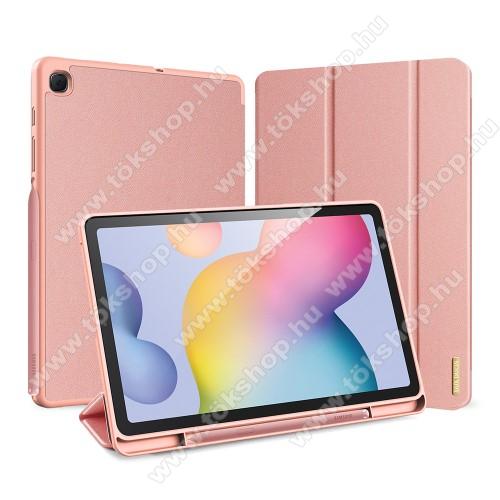 DUX DUCIS Domo Series notesz / mappa tok - ROSE GOLD - oldalra nyíló flip cover, TRIFOLD asztali tartó funkciós, textillel bevont, belső ceruzatartó, mágneses záródás, szilikon belső - SAMSUNG SM-P610 / SM-P615 Galaxy Tab S6 Lite - GYÁRI