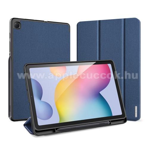 DUX DUCIS Domo Series notesz / mappa tok - SÖTÉTKÉK - oldalra nyíló flip cover, TRIFOLD asztali tartó funkciós, textillel bevont, belső ceruzatartó, mágneses záródás, szilikon belső - SAMSUNG SM-P610 / SM-P615 Galaxy Tab S6 Lite - GYÁRI