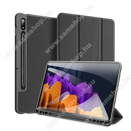 SAMSUNG Galaxy Tab S7 (SM-T870/T875/T876B)DUX DUCIS Domo Series notesz / mappa tok - FEKETE - oldalra nyíló flip cover, TRIFOLD asztali tartó funkciós, textillel bevont, belső ceruzatartó, mágneses záródás, szilikon belső - SAMSUNG Galaxy Tab S7 (SM-T870/T875/T876B) - GYÁRI