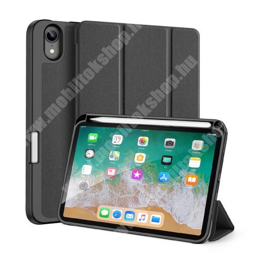 DUX DUCIS Domo Series notesz / mappa tok - FEKETE - oldalra nyíló flip cover, TRIFOLD asztali tartó, erősített sarkok, textillel bevont, mágneses záródás, belső ceruzatartó, szilikon belső - APPLE iPad mini (6th generation) (2021) - GYÁRI