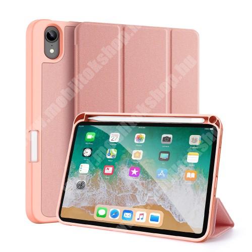 DUX DUCIS Domo Series notesz / mappa tok - RÓZSASZÍN - oldalra nyíló flip cover, TRIFOLD asztali tartó, erősített sarkok, textillel bevont, mágneses záródás, belső ceruzatartó, szilikon belső - APPLE iPad mini (6th generation) (2021) - GYÁRI