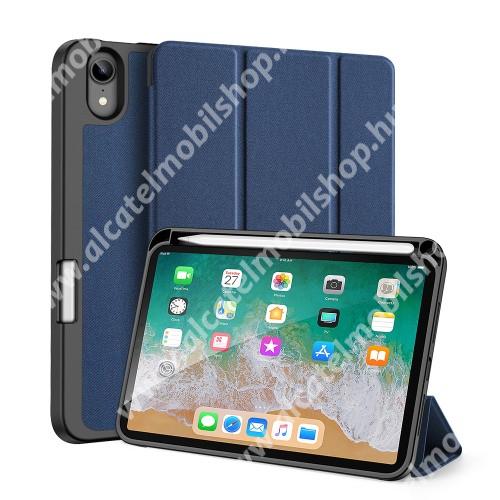 DUX DUCIS Domo Series notesz / mappa tok - SÖTÉTKÉK - oldalra nyíló flip cover, TRIFOLD asztali tartó, erősített sarkok, textillel bevont, mágneses záródás, belső ceruzatartó, szilikon belső - APPLE iPad mini (6th generation) (2021) - GYÁRI