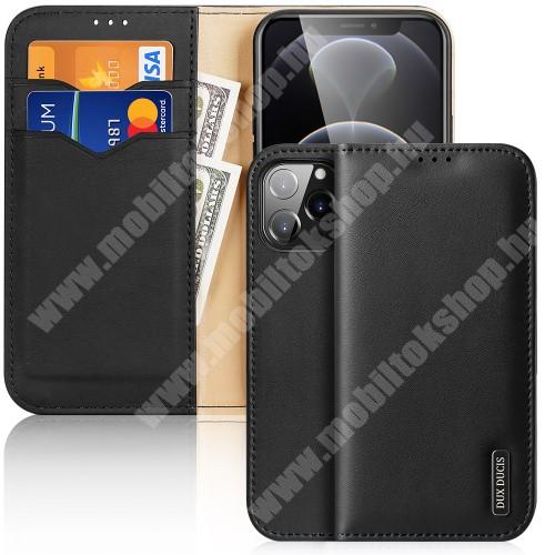 DUX DUCIS HIVO notesz / mappa tok - FEKETE - valódi bőr, oldalra nyíló flip cover, asztali tartó funkció, RFID védelem, rejtett mágneses záródás, szilikon belső - APPLE iPhone 13 Pro Max - GYÁRI