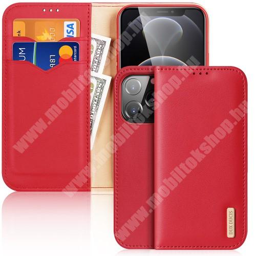 DUX DUCIS HIVO notesz / mappa tok - PIROS - valódi bőr, oldalra nyíló flip cover, asztali tartó funkció, RFID védelem, rejtett mágneses záródás, szilikon belső - APPLE iPhone 13 Pro - GYÁRI