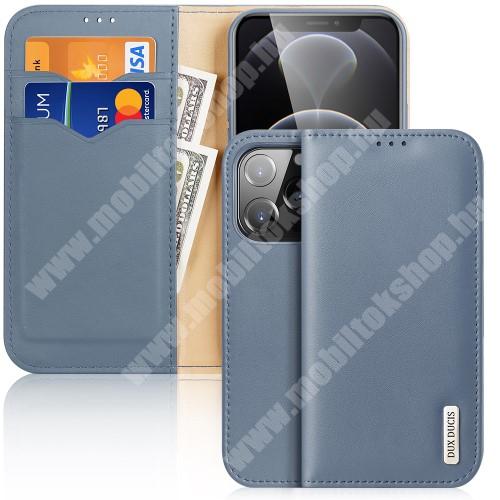 DUX DUCIS HIVO notesz / mappa tok - VILÁGOSKÉK - valódi bőr, oldalra nyíló flip cover, asztali tartó funkció, RFID védelem, rejtett mágneses záródás, szilikon belső - APPLE iPhone 13 Pro - GYÁRI