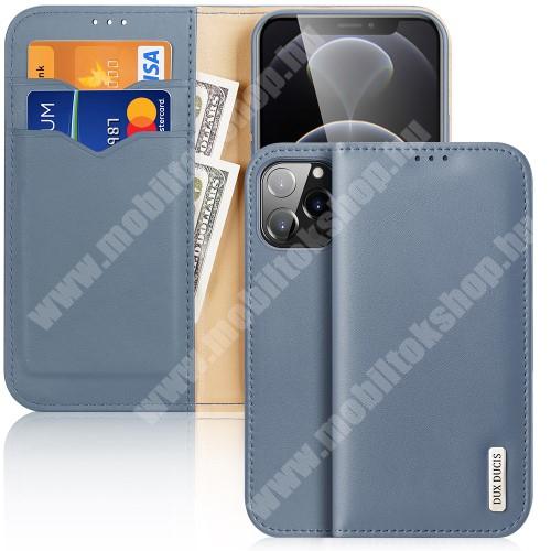 DUX DUCIS HIVO notesz / mappa tok - VILÁGOSKÉK - valódi bőr, oldalra nyíló flip cover, asztali tartó funkció, RFID védelem, rejtett mágneses záródás, szilikon belső - APPLE iPhone 13 Pro Max - GYÁRI