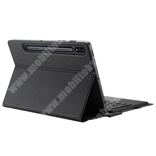 DUX DUCIS notesz / mappa tok - FEKETE - oldalra nyíló, szövettel bevont, mágneses záródás, asztali tartó funkció, TOUCHPAD, ceruzatartó, kivehető bluetooth billentyűzet (ANGOL KIOSZTÁSÚ), szilikon belső - SAMSUNG Galaxy Tab S7 (SM-T870/T875/T876B) - GYÁRI