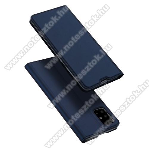 DUX DUCIS Series slim design notesz / mappa tok - SÖTÉTKÉK - oldalra nyíló flip cover, asztali tartó funkció, szilikon belső, mágneses záródás - SAMSUNG Galaxy A51 (SM-A515F) - GYÁRI