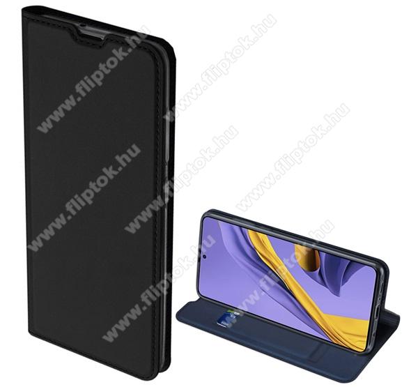 DUX DUCIS Skin Pro Series slim design notesz / mappa tok - FEKETE - oldalra nyíló flip cover, asztali tartó funkció, szilikon belső, mágneses záródás - SAMSUNG SM-A715F Galaxy A71 - GYÁRI