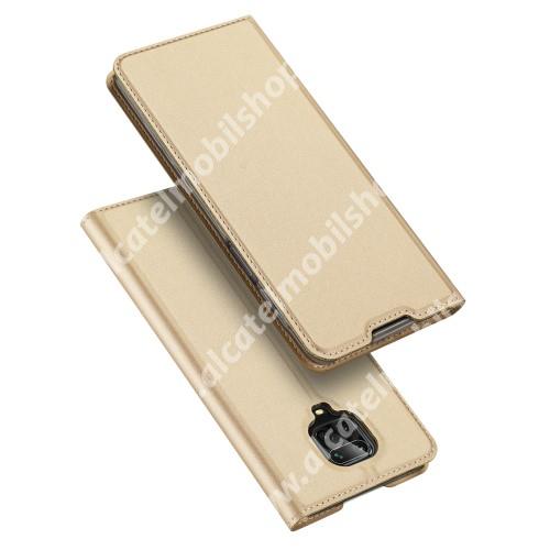 DUX DUCIS Skin Pro Series slim design notesz / mappa tok - ARANY - oldalra nyíló flip cover, asztali tartó funkció, szilikon belső, mágneses záródás - Xiaomi Redmi Note 9S / Xiaomi Redmi Note 9 Pro / Xiaomi Redmi Note 9 Pro Max - GYÁRI