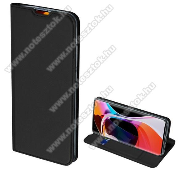 DUX DUCIS Skin Pro Series slim design notesz / mappa tok - FEKETE - oldalra nyíló flip cover, asztali tartó funkció, szilikon belső, mágneses záródás - Xiaomi Mi 10 Pro 5G - GYÁRI