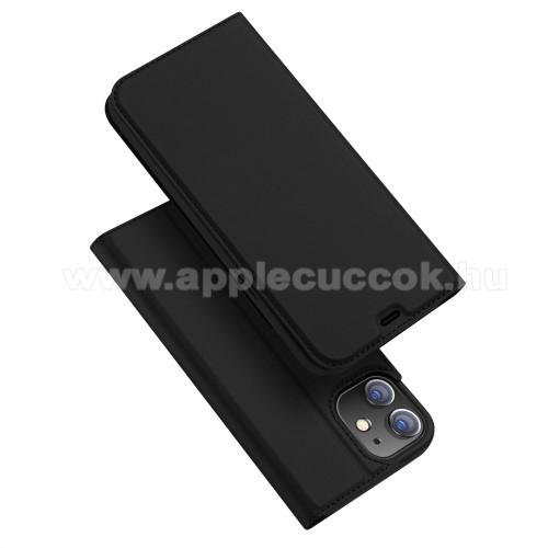 DUX DUCIS Skin Pro Series slim design notesz / mappa tok - FEKETE - oldalra nyíló flip cover, asztali tartó funkció, szilikon belső, mágneses záródás - APPLE iPhone 12 - GYÁRI