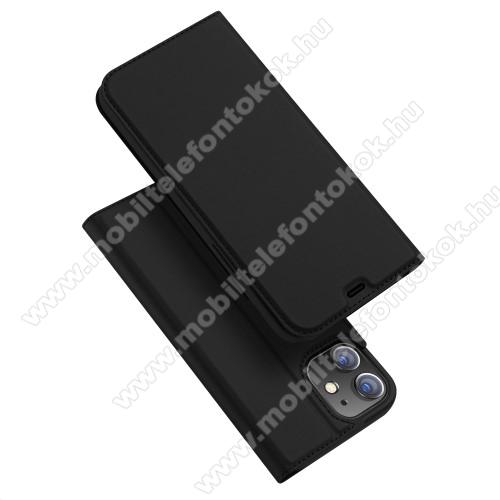 DUX DUCIS Skin Pro Series slim design notesz / mappa tok - FEKETE - oldalra nyíló flip cover, asztali tartó funkció, szilikon belső, mágneses záródás - APPLE iPhone 12 mini - GYÁRI