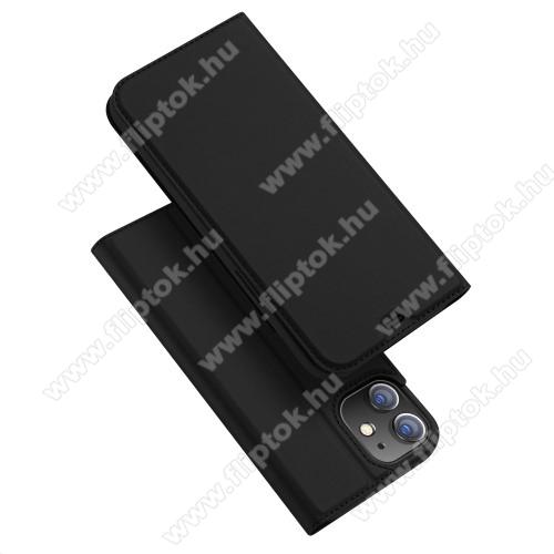 DUX DUCIS Skin Pro Series slim design notesz / mappa tok - FEKETE - oldalra nyíló flip cover, asztali tartó funkció, szilikon belső, mágneses záródás - APPLE iPhone 12 / APPLE iPhone 12 Pro - GYÁRI