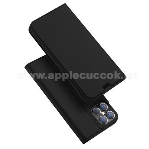 APPLE iPhone 12 Pro MaxDUX DUCIS Skin Pro Series slim design notesz / mappa tok - FEKETE - oldalra nyíló flip cover, asztali tartó funkció, szilikon belső, mágneses záródás - APPLE iPhone 12 Pro Max - GYÁRI