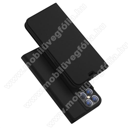 DUX DUCIS Skin Pro Series slim design notesz / mappa tok - FEKETE - oldalra nyíló flip cover, asztali tartó funkció, szilikon belső, mágneses záródás - APPLE iPhone 12 Pro Max - GYÁRI