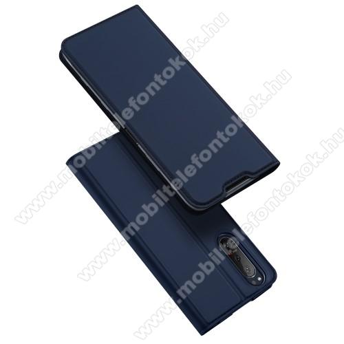 DUX DUCIS Skin Pro Series slim design notesz / mappa tok - SÖTÉTKÉK - asztali tartó funkciós, oldalra nyíló, rejtett mágneses záródás, bankkártyatartó zseb, szilikon belső - SONY Xperia 5 II (2020) - GYÁRI