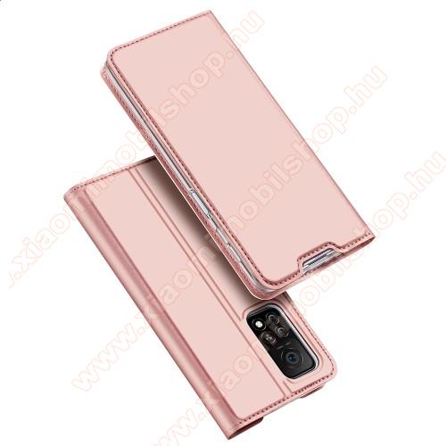 DUX DUCIS Skin Pro Series slim design notesz / mappa tok - ROSE GOLD - asztali tartó funkciós, oldalra nyíló, rejtett mágneses záródás, bankkártyatartó zseb, szilikon belső - Xiaomi Mi 10T 5G / Mi 10T Pro 5G / Redmi K30S - GYÁRI