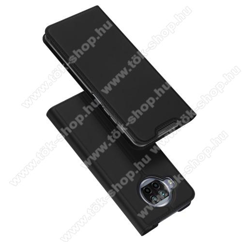 DUX DUCIS Skin Pro Series slim design notesz / mappa tok - FEKETE - asztali tartó funkciós, oldalra nyíló, rejtett mágneses záródás, bankkártyatartó zseb, szilikon belső - Xiaomi Mi 10T Lite 5G - GYÁRI