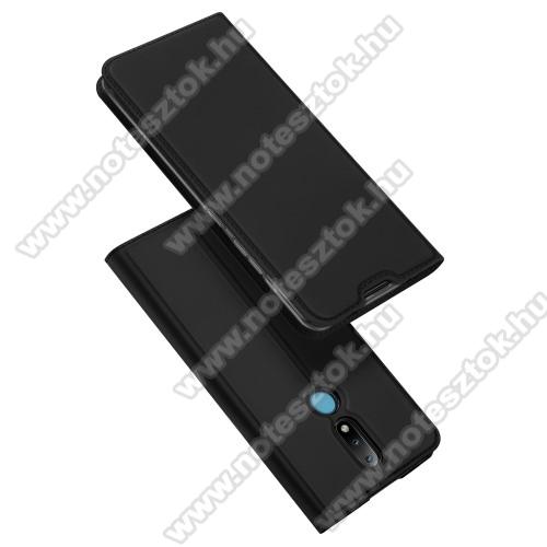 DUX DUCIS Skin Pro Series slim design notesz / mappa tok - FEKETE - oldalra nyíló flip cover, asztali tartó funkció, szilikon belső, rejtett mágneses záródás - NOKIA 2.4 (2020) - GYÁRI
