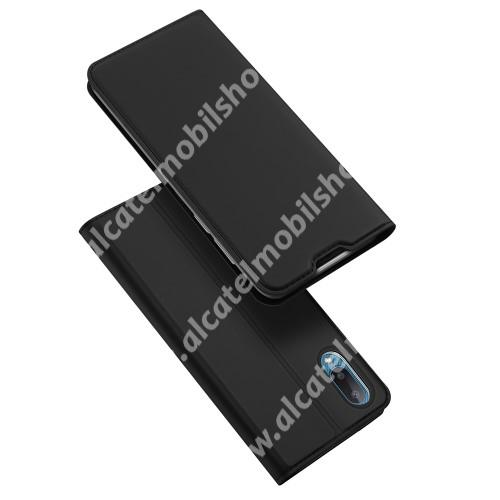 DUX DUCIS Skin Pro Series slim design notesz / mappa tok - FEKETE - asztali tartó funkciós, oldalra nyíló, rejtett mágneses záródás, bankkártyatartó zseb, szilikon belső - SAMSUNG Galaxy A02 (SM-A022F) / Galaxy M02 (SM-M022F) - GYÁRI