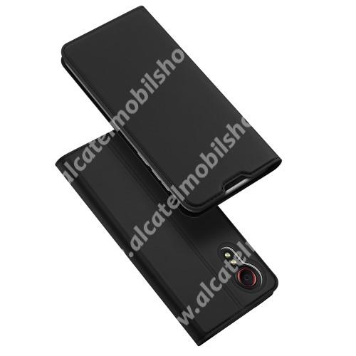 DUX DUCIS Skin Pro Series slim design notesz / mappa tok - FEKETE - asztali tartó funkciós, oldalra nyíló, rejtett mágneses záródás, bankkártyatartó zseb, szilikon belső - SAMSUNG Galaxy Xcover 5 (SM-G525F) - GYÁRI