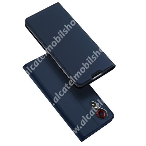 DUX DUCIS Skin Pro Series slim design notesz / mappa tok - SÖTÉTKÉK - asztali tartó funkciós, oldalra nyíló, rejtett mágneses záródás, bankkártyatartó zseb, szilikon belső - SAMSUNG Galaxy Xcover 5 (SM-G525F) - GYÁRI