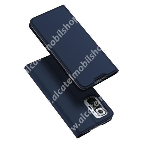DUX DUCIS Skin Pro Series slim design notesz / mappa tok - SÖTÉTKÉK - asztali tartó funkciós, oldalra nyíló, rejtett mágneses záródás, bankkártyatartó zseb, szilikon belső - Xiaomi Redmi Note 10 Pro / Redmi Note 10 Pro Max - GYÁRI