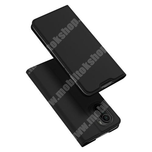 DUX DUCIS Skin Pro Series slim design notesz / mappa tok - FEKETE - asztali tartó funkciós, oldalra nyíló, rejtett mágneses záródás, bankkártyatartó zseb, szilikon belső - Xiaomi Redmi K40 / Redmi K40 Pro / Redmi K40 Pro Plus / Mi 11i / Poco F3 - GYÁRI
