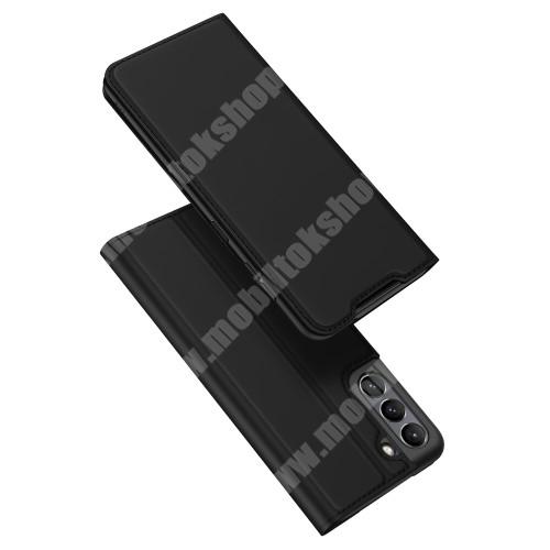 DUX DUCIS Skin Pro Series slim design notesz / mappa tok - FEKETE - asztali tartó funkciós, oldalra nyíló, rejtett mágneses záródás, bankkártyatartó zseb, szilikon belső - SAMSUNG Galaxy S21 FE (SM-G990B, SM-G990B/DS) - GYÁRI