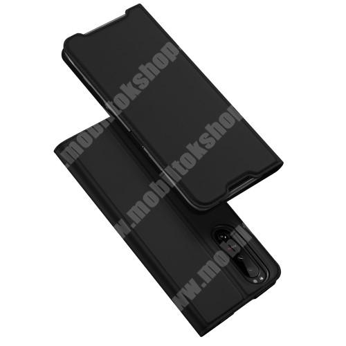 DUX DUCIS Skin Pro Series slim design notesz / mappa tok - FEKETE - asztali tartó funkciós, oldalra nyíló, rejtett mágneses záródás, bankkártyatartó zseb, szilikon belső - SONY Xperia 5 III - GYÁRI