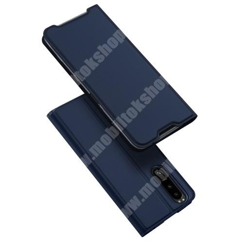 DUX DUCIS Skin Pro Series slim design notesz / mappa tok - SÖTÉTKÉK - asztali tartó funkciós, oldalra nyíló, rejtett mágneses záródás, bankkártyatartó zseb, szilikon belső - SONY Xperia 5 III - GYÁRI