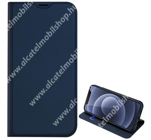 DUX DUCIS Skin Pro Series slim design notesz / mappa tok - SÖTÉTKÉK - asztali tartó funkciós, oldalra nyíló, rejtett mágneses záródás, bankkártyatartó zseb, szilikon belső - APPLE iPhone 13 mini - GYÁRI