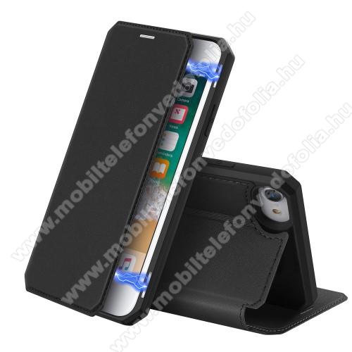 DUX DUCIS Skin X Series slim design notesz / mappa tok - FEKETE - oldalra nyíló flip cover, asztali tartó funkció, bankkártyatartó zseb, rejtett mágneses záródás, szilikon belső, erősített sarkok - ERŐS VÉDELEM! - APPLE iPhone SE (2020) / iPhone 7 / 8