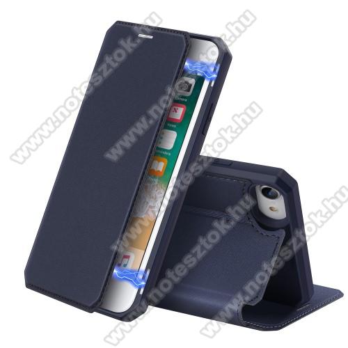 DUX DUCIS Skin X Series slim design notesz / mappa tok - SÖTÉTKÉK - oldalra nyíló flip cover, asztali tartó funkció, bankkártyatartó zseb, rejtett mágneses záródás, szilikon belső, erősített sarkok - ERŐS VÉDELEM! - APPLE iPhone SE (2020) / iPhone 7 / 8