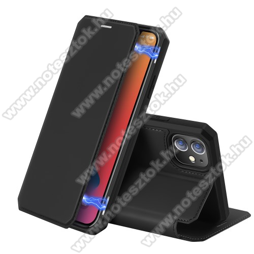 DUX DUCIS Skin X Series slim notesz / mappa tok - FEKETE - oldalra nyíló flip cover, asztali tartó funkció, bankkártyatartó zseb, rejtett mágneses záródás, szilikon belső, erősített sarkok - ERŐS VÉDELEM! - APPLE iPhone 12 mini - GYÁRI