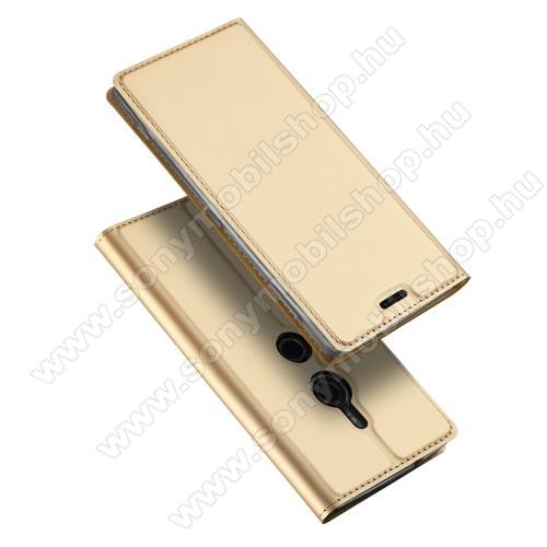 DUX DUCIS slim design notesz / mappa tok - ARANY - oldalra nyíló flip cover, asztali tartó funkció, szilikon belsõ, mágneses záródás - Sony Xperia XZ2 - GYÁRI