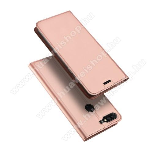 DUX DUCIS slim design notesz / mappa tok - ROSE GOLD - oldalra nyíló flip cover, asztali tartó funkció, szilikon belső - HUAWEI Y9 (2018) / HUAWEI Enjoy 8 Plus - GYÁRI