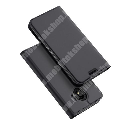 DUX DUCIS slim design notesz / mappa tok - SÖTÉT SZÜRKE - oldalra nyíló flip cover, asztali tartó funkció, szilikon belső - SAMSUNG SM-J400F Galaxy J4 (2018) - GYÁRI