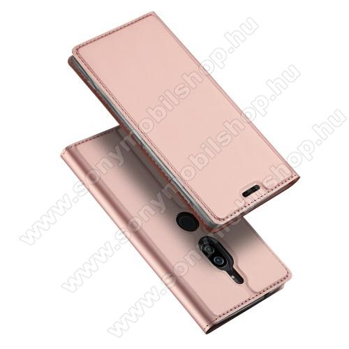 DUX DUCIS slim design notesz / mappa tok - ROSE GOLD - oldalra nyíló flip cover, asztali tartó funkció, szilikon belső - SONY Xperia XZ2 Premium (2018) - GYÁRI