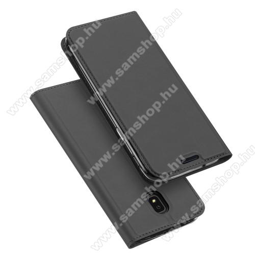 DUX DUCIS slim design notesz / mappa tok - SÖTÉTSZÜRKE - oldalra nyíló flip cover, asztali tartó funkció, szilikon belső, mágneses záródás - SAMSUNG Galaxy J3 (2018) - GYÁRI
