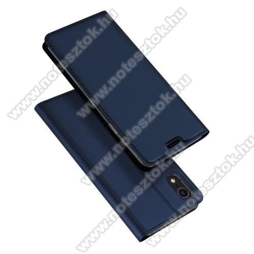 DUX DUCIS slim design notesz / mappa tok - SÖTÉTKÉK - oldalra nyíló flip cover, asztali tartó funkció, szilikon belső, mágneses záródás - APPLE iPhone Xr - GYÁRI