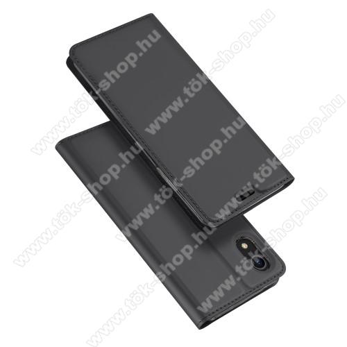 DUX DUCIS slim design notesz / mappa tok - SÖTÉT SZÜRKE - oldalra nyíló flip cover, asztali tartó funkció, szilikon belső, mágneses záródás - APPLE iPhone Xr - GYÁRI