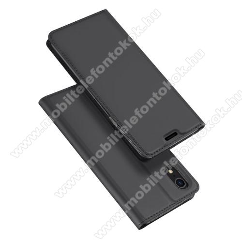 APPLE iPhone XrDUX DUCIS slim design notesz / mappa tok - SÖTÉT SZÜRKE - oldalra nyíló flip cover, asztali tartó funkció, szilikon belső, mágneses záródás - APPLE iPhone Xr - GYÁRI