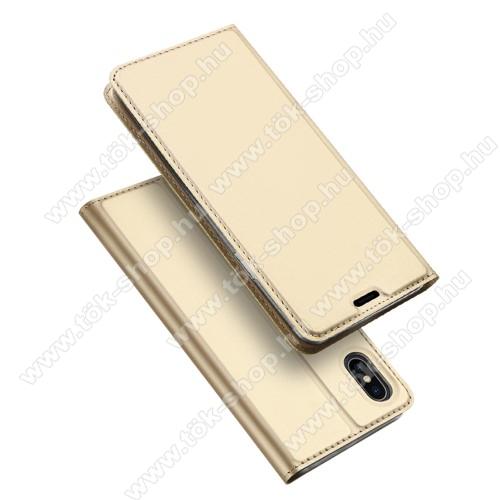 DUX DUCIS slim design notesz / mappa tok - ARANY - oldalra nyíló flip cover, asztali tartó funkció, szilikon belső, mágneses záródás - APPLE iPhone XS Max - GYÁRI